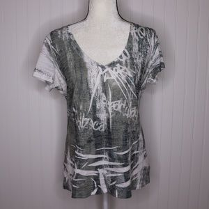 Maurices Printed Short Sleeve V Neck Tee Size XL